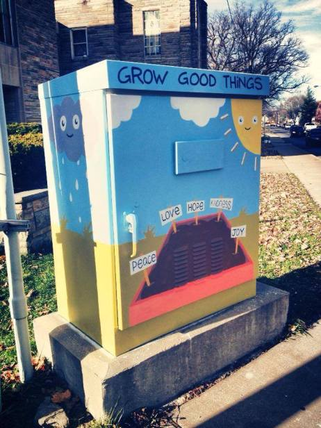 the traffic signal box we were painting when someone gave us the hot chocolate!