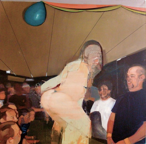 girlsgonewild40 wet tshirt contest (36x36inches, oil on canvas, 2009)