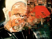 Portrait of Chuck Close (36x36inches, oil on board, 2009)