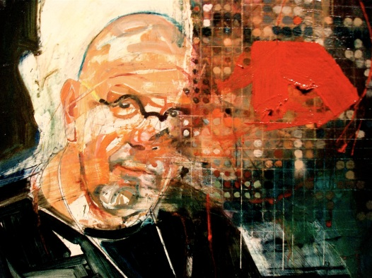 Portrait of Chuck Close (36x36inches, oil on board, 2009)