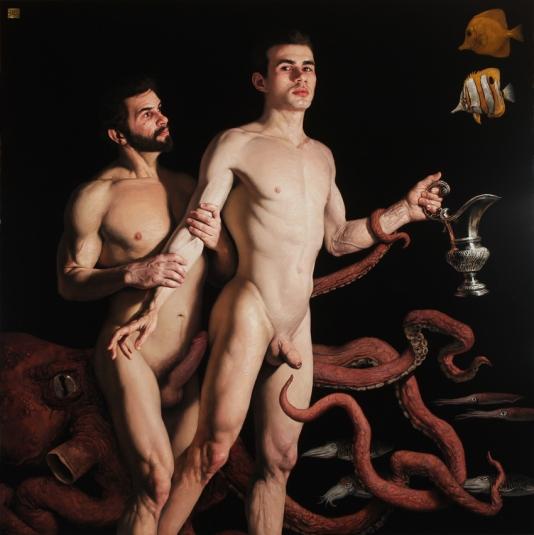 Barahona Possollo, Pelops and Poseidon, oil on wood, 49' x 49', 2012