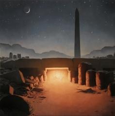Barahona Possollo, Repose on the flight to Egypt, oil on wood, 29'x29', 2012