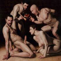 Barahona Possollo,Sweet, oil on canvas on wood, 39'x39', 2013