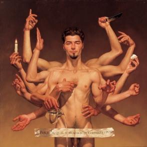 Il punto al qual si traggon d'ogni parte i pesi, oil on canvas, 54x54', 1998