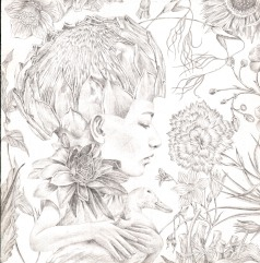 Miroir Magazine - Ducky in Pinky Talky Town - silverpoint drawing - Lori Field
