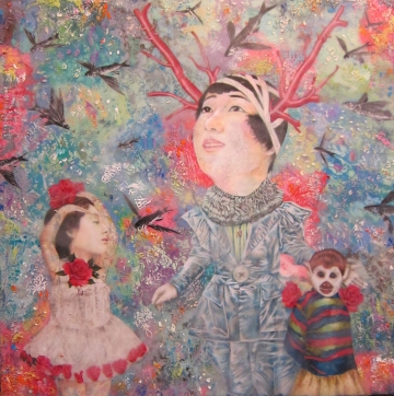 Miroir Magazine - Svengali - colored pencil, rice paper, encaustic on panel - Lori Field
