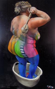 TASSO - Na Na...Saison-Nabel, SprayLack on canvas 2013