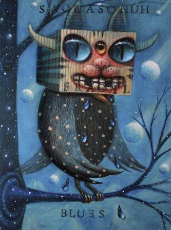 Hopi Dream_Blues_ acrylic on wooden board
