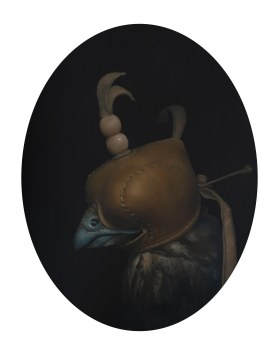 The Hooded Hunter.11inx14in (oval) oil on panel 2013