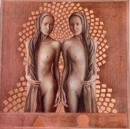 alpha & omega-12x12inches-Mixed media & copper leaf on wood, 2014
