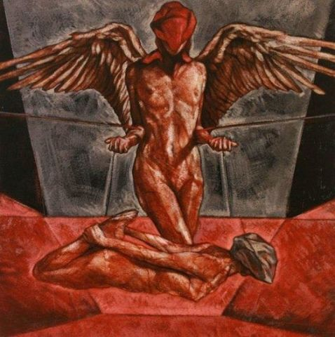 Eros & Psyche, oil on linen, 14x14 inches, 2009