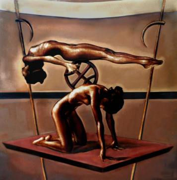Figures with wheel, 54x54 inches, oil on canvas, 2006