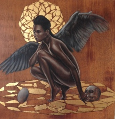 Lilith, 12x12 inches, mixed media & gold leaf on wood, 2014