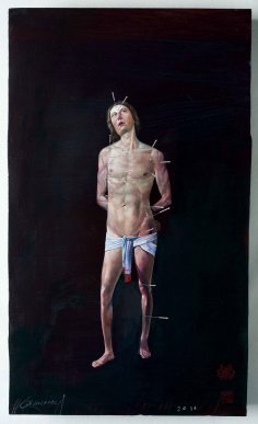 St. Sebastian of Acupuncture. 38 x 29cm. Oil Painting. 2016