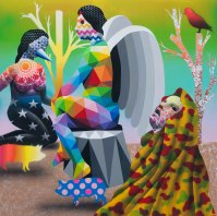 Angel and wizards - Adda_TaxieGallery - Paris - Jun2017 - Synthetic enamel on wood - 120x120 cm