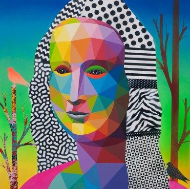 Mona Lisa looking at the future - Adda_TaxieGallery - Paris - Jun2017 - Synthetic enamel on wood - 120x120 cm