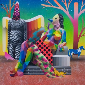 World can_t fly without the shaman - Corey Helford Gallery - Los Angeles - Apr2017 - Synthetic enamel on wood panel - 120x120cm