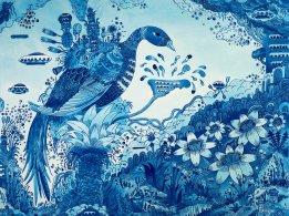 Blue Nanoscape, 30 x 30 in. Acrylic on Linen