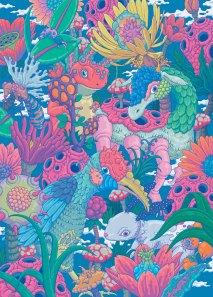 wow x wow - blooming animals, 720x1000, digital(fabric printing), 2018