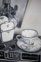 Dosshaus_Paper Thin Hotel_Tabletop with alarmclock lipstick and tea cup