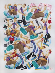 """SAWE - """"NO FUTURE 1_ - 2016 - 57cm x 76,5cm - Watercolor, color pencil and airbrush on satin paper Arches -"""