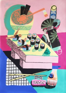 SAWE - FLEX GOD_4- 2017 - 140cm x 100cm - Acrylic, solid oil paint marker base and collage on canvas