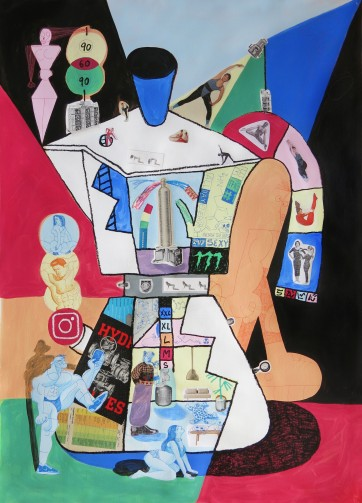 SAWE - FLEX GOD_5 - 150cm x 105cm - Acrylic, solid oil paint marker base and collage on canvas