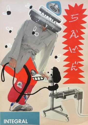 SAWE - Integral 1 - 2017 - 21cm x 29,7cm - Acrylic, typix and collage on cardboard