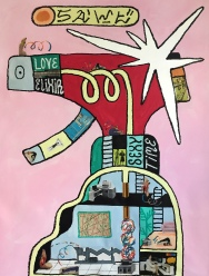 SAWE - LOVE ELIXIR - 2017 - 105cm x 75cm - Acrylic, solid oil paint marker base and collage on canvas