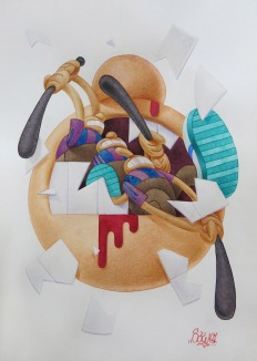 SAWE - NO FUTURE 2 - 2016 - 21cm x 29,7cm - Watercolor and color pencil on satin paper Arches