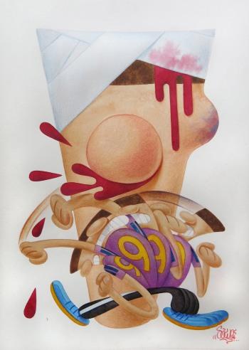 SAWE - NO FUTURE 3 - 2016 - 21cm x 29,7cm - Watercolor and color pencil on satin paper Arches