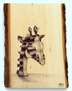 Last Animal in the Ark_Ballpoint on Wood