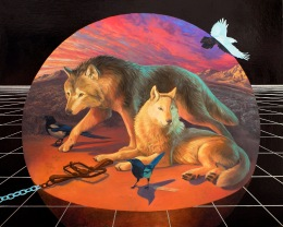 Alexis Kandra, Lobo and Blanca, oil and metal leaf on wood panel, 24in X 30in, 2017